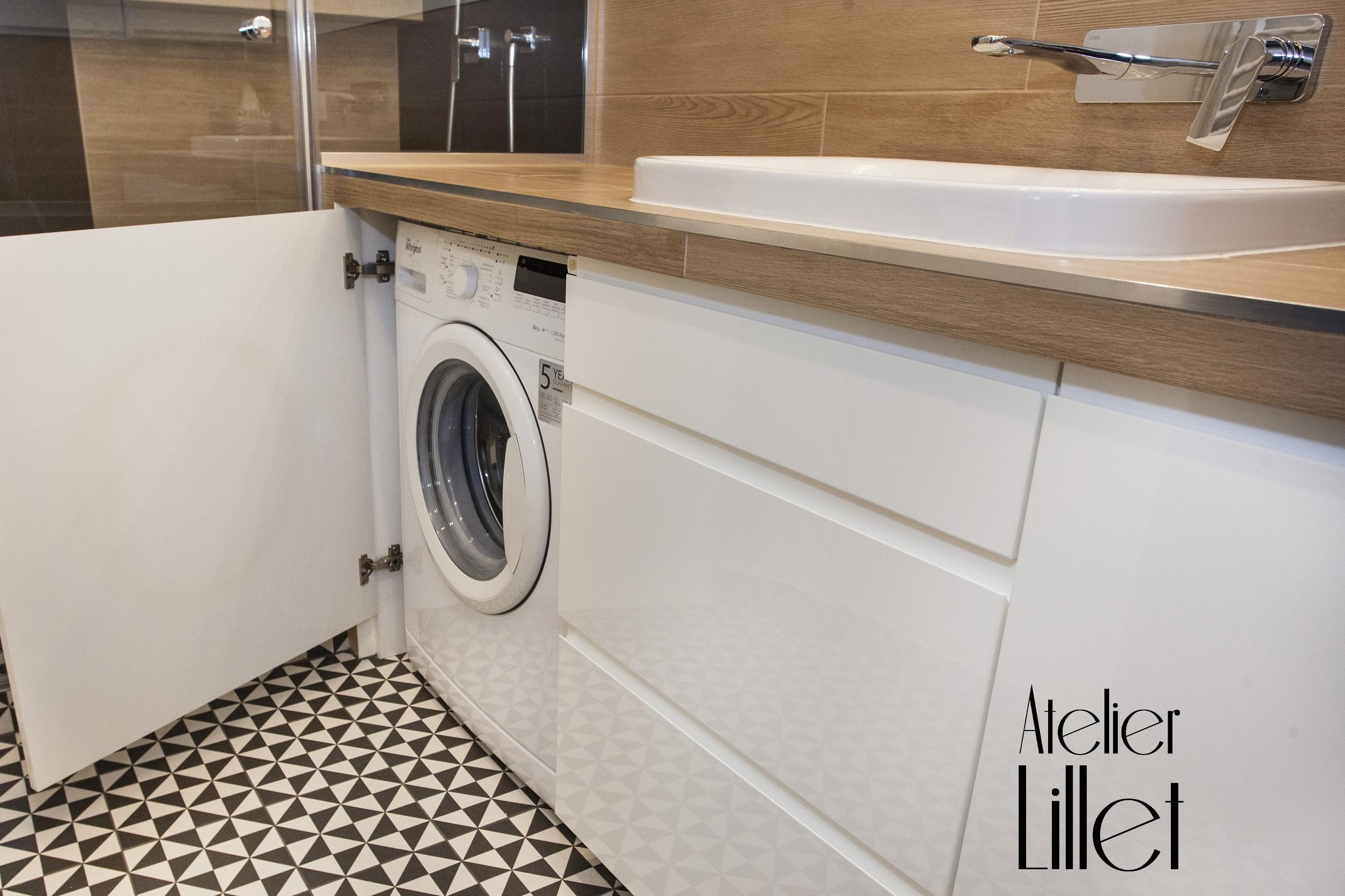 łazienka Z Płytkami W Czarno Biały Wzór Atelier Lillet