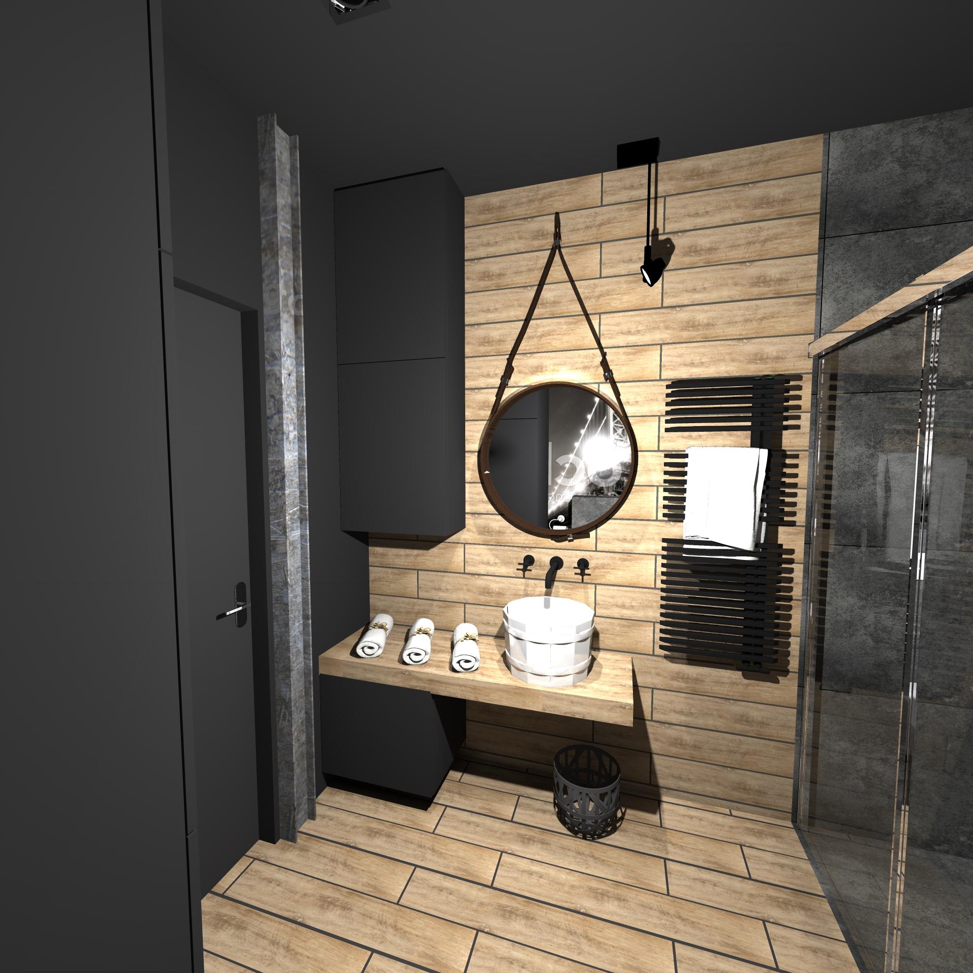 Projekt łazienki W Lofcie W Międzyzdrojach Atelier Lillet