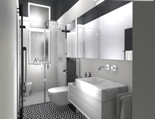 Czarno-biała łazienka o wydłużonych proporcjach