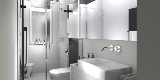 Mała łazienka Atelier Lillet Projektowanie Wnętrz Szczecin