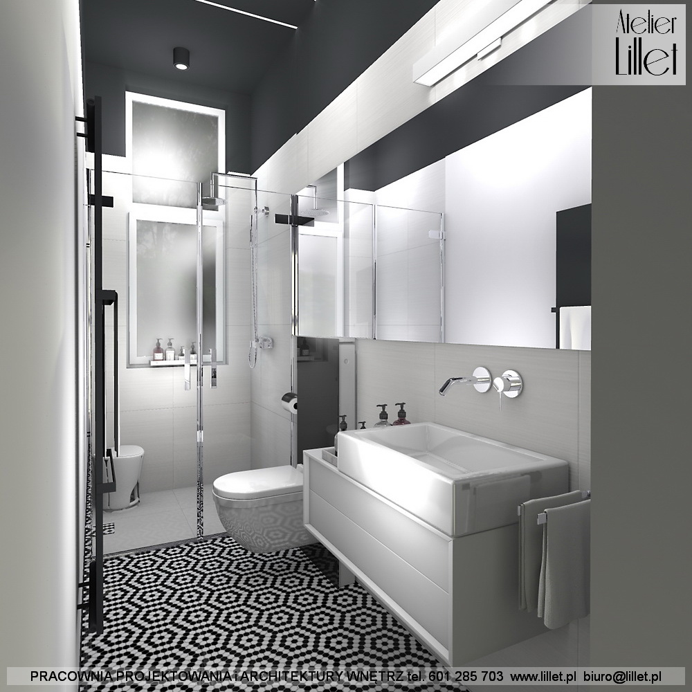 Czarno Biała łazienka O Wydłużonych Proporcjach Atelier
