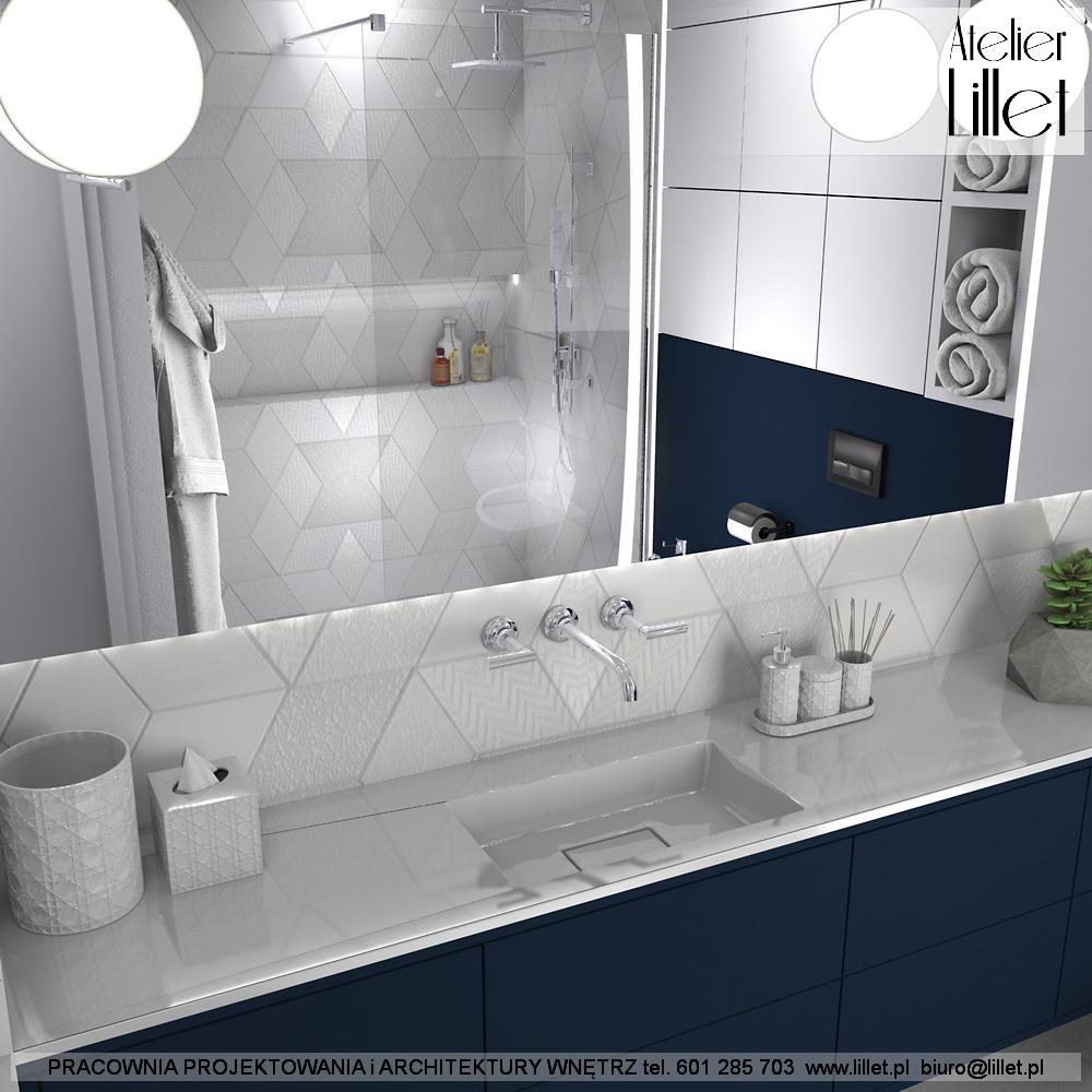 Granatowo Biała łazienka Atelier Lillet Projektowanie