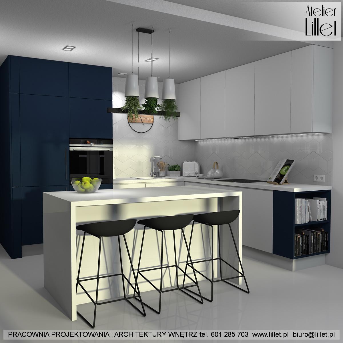 Granatowo Biała Kuchnia Atelier Lillet Projektowanie