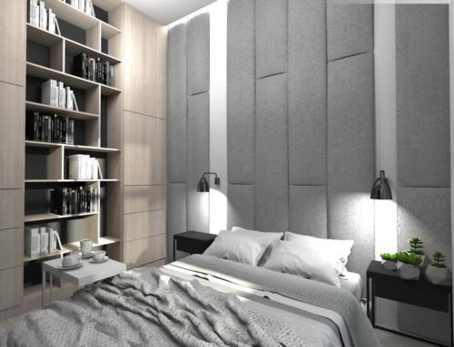 Wysoka sypialnia z biblioteczką
