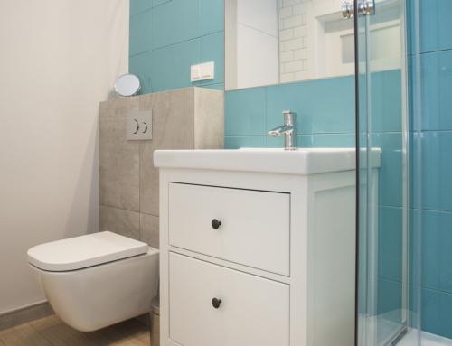 Realizacja turkusowo-białej łazienki