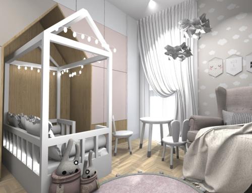 Różowo-beżowy pokój dla dziewczynki