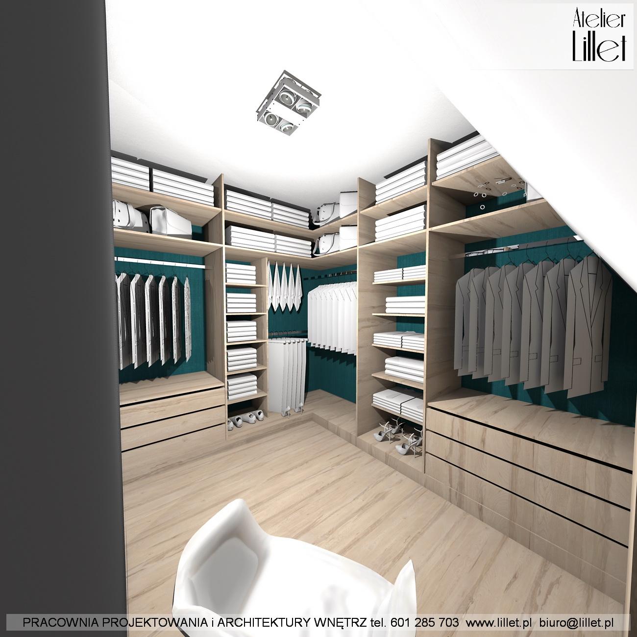 Sypialnia z garderobą na poddaszu w Dziedzicach • Atelier ...