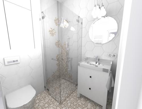 Mała łazienka w płytce hexagon