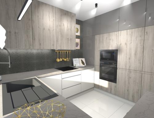 Projekt wnętrza kuchni w kolorach ziemi z dodatkiem złota