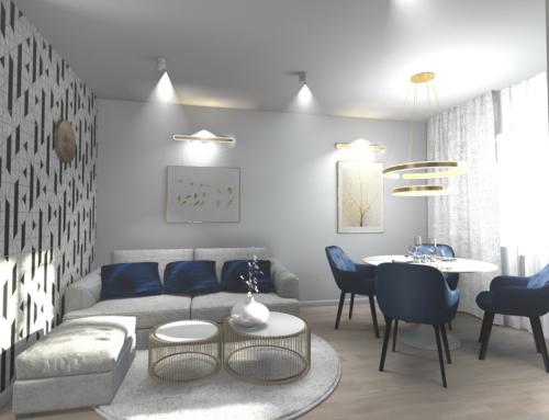 Projekt wnętrza salonu w bieli z dodatkiem złota i szlachetnego granatu