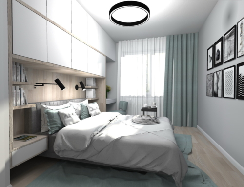 Sypialnia biało-turkusowa z podświetlaną toaletką.