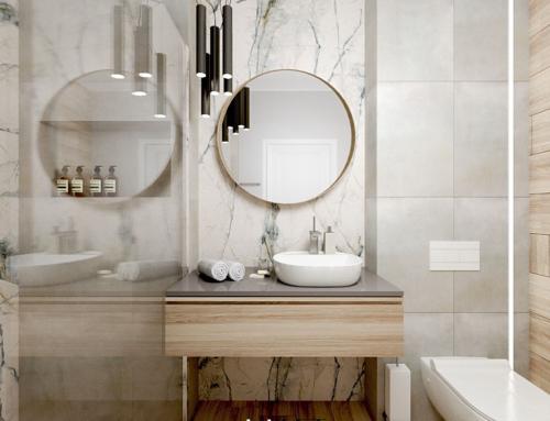 Projekt łazienki z kolorowym marmurem