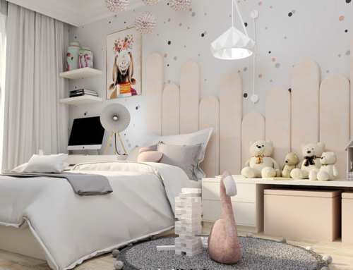 Pokój dziewczynki z panelami tapicerowanymi