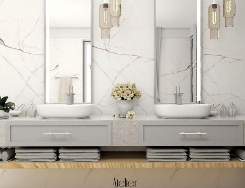 Stylowa łazienka z zabudową pralni