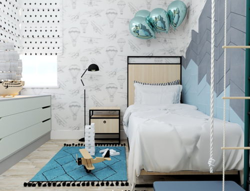 Pokój balonikowy dla chłopca w błękitach